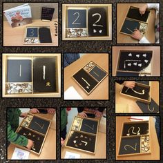 """Number recognition, counting and mark making in tea leaves - from Rachel ("""",) Kindergarten Math, Preschool, Maths Eyfs, Early Years Classroom, Number Recognition, Mark Making, Problem Solving, Mathematics, Numbers"""