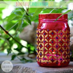 Great upcycled craft! Make boho chic candle lanterns with empty glass jars and Mod Podge. So cool!