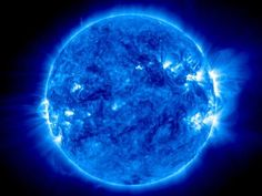 Blue Sun ~~ Captured in extreme ultraviolet light, the sun is pictured in a shade of azure blue. #sun #ultraviolet_light #blue #space
