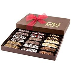 Chocolate Biscotti Cookie Gift Basket, Gourmet Gift Basket, Delicious Biscotti Covered in Dark Chocolate and Artfully Decorated 18 Count Gift Box - Oh! Nuts