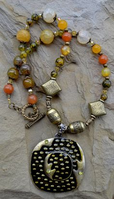 Tribal Bronze Necklace with Agate Gemstones and by LKArtChic