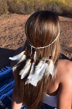Feather Headband, Festival Feather Headpiece, Bohemian Headwear ~ TONYA  #featherheadband Feather Headpiece, Headdress, Country Concert Fashion, Sea Queen, Indian Feathers, Red Feather, Gold Tips, Feathered Hairstyles, Boho Bride