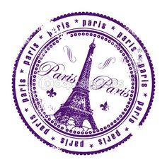 Grunge Rubberstempel met de toren van eiffel en het woord Parijs, Frankrijk binnen