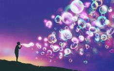 Art Print: Young Man Blowing Glowing Soap Bubbles against Evening Sky,Illustration Painting by Tithi Luadthong : Ways To Reduce Anxiety, Wim Hof, Free Guided Meditation, Painting Prints, Art Prints, Spirit Science, Have A Good Night, Soap Bubbles