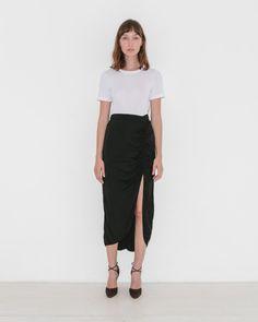 Gathered Slit Skirt