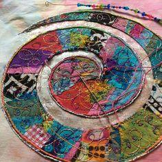 Circle stitching, applique, colorful stitching, slow stitch