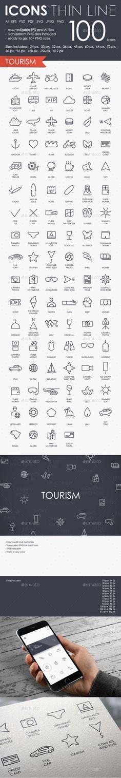 Tourism thinline icons