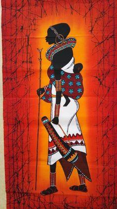 Maasai wall hanging batik art are handmade in Kenya from cotton fabric and dye. I draws t. Arte Tribal, Tribal Art, African Art Paintings, African Artwork, Afrique Art, Batik Art, Art Premier, Black Artwork, African American Art