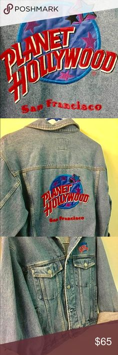 "✨Jean Jacket "" PLANET HOLLYWOOD "" San Francisco ✨ Size M✨ Excellent condition✨ Planet Hollywood Jeans"