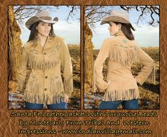 Santa Fe Lady's Fringed Jacket By Montecarlo  - Matching Forever And Ever Cowgirl Hat From Bullhide - FREE GIFT! Your Choice Of A Jana Mashonee Music CD For Wearing A World Class Bullhide Jacket! -Review It Off Of: http://www.indianvillagemall.com/santafejacket.html