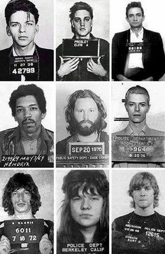 Frank Sinatra, Elvis Presley, Johnny Cash, Jimi Hendrix, Jim Morrison, David Bowie, Mick Jagger, Janis Joplin , Kurt Cobain