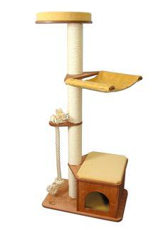 Höhe: 169cm  Gewicht: 29 kg Abbildung in: Holzfarbe Kirsche, Bezug Teppich Sonnengelb, Hängematte Sonnengelb unser Kratzbaum - Klassiker jetzt auch mit Kletterseil ! Kratzbaum Modell Victor besteht aus folgenden...