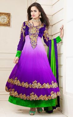 $116.16 Purple Faux Georgette Embroidery with Sequins Work Anarkali Suit 26283