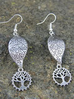 Silver Tree of Life and Leaf Earrings Perfect Gift for Nature