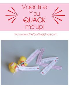Super cute duck Valentine's Day printables from The Crafting Chicks. Love these. Works for boys and girls! #valentines #freeprintable
