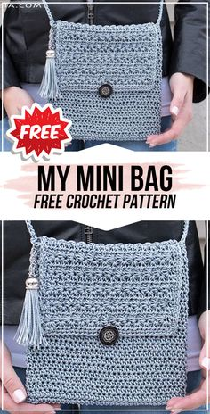 Crochet bags purses 788692953481742418 - crochet My Mini Bag free pattern – easy crochet bag pattern for beginners Source by Crochet Simple, Free Crochet Bag, Crochet Tote, Crochet Handbags, Crochet Purses, Simple Knitting, Doilies Crochet, Beginner Knitting, Crochet Shell Stitch