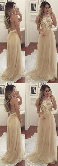 Champagne Spaghetti Appliques Tulle Prom Dresses, Long A-line Prom Dresses, Cheap Evening Dresses,PD190332 #promdresses #longpromdresses #tulle #a-line #prom2k18
