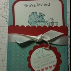 Baby shower invitations I made, artwork copyright Stampin' Up!