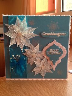 Granddaughter Christmas Card. Stamping and Embossing onto vellum.