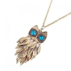 $2.68 Leaf Tassels Embellished Rhinestoned Night Owl Shaped Pendant Sweater Chain Necklace For Women
