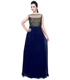 Buy blue georgette embroidered semi stitiched party wear gown party-wear-gown online