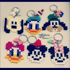 Mickey and friends perler bead keychains by improvingdreams