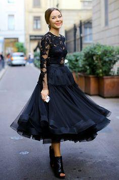 falda tul top negro