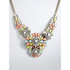 Torrid Multi Color Gemstone Statement Necklace (36 CAD) ❤ liked on Polyvore featuring jewelry, necklaces, chain statement necklace, multicolor statement necklace, chunky bib necklace, chunky necklace and sports necklace