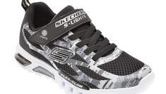 Pantofi sport SKECHERS negri, FLEX-GLOW TAREN, din material textil si piele ecologica