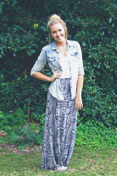 maxi skirt and denim shirt !