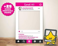 Our sweet 16 photo booth prop is a must for any 16th birthday! This frame will truly be the life of the party and the envy of all guests! Bring Your Social Media To Life with Framesta! BONUS!!! - For a limited time, you will also receive 28 BONUS CHALKBOARD PRINTABLE PROPS! Our experienced