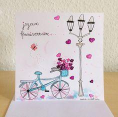 carte anniversaire, carte romantique, carte peinte, carte colorée : Cartes par sonia-creation