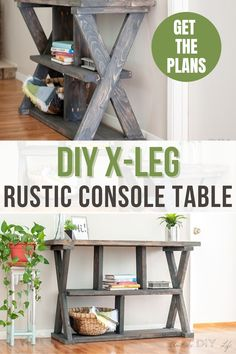 Learn how to build an easy farmhouse style DIY X-leg console table with the full tutorial and plans using 2x4s and other construction lumber.