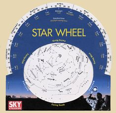 """Learn how to make a star wheel to navigate the night sky with aplomb any time you'd like! Using a star wheel, you can """"dial"""" the sky whenever you'd like. Brightest Planet, Printable Star, Star Chart, Science Activities, Science Ideas, Science Projects, Girl Scouts, Cub Scouts, Stargazing"""