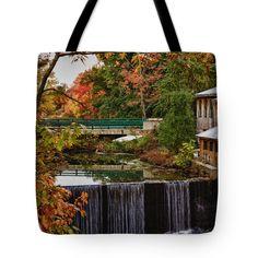 "Hadley upper mill in autumn Tote Bag 18"" x 18"""