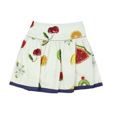 Monnalisa Girl's White Skirt with Fruit Print and Blue Trimming. Available now at www.chocolateclothing.co.uk #childrenswear #minifashion #Monnalisa #chocolateclothing