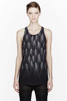 3.1 Phillip Lim - Black Wheat Print Geo Silk Tank Top