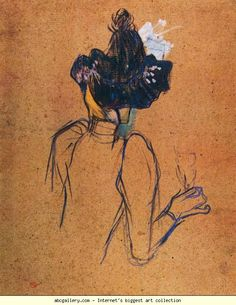 Henri de Toulouse-Lautrec. Jane Avril. Back View. Olga's Gallery.