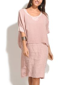 Another great find on #zulily! Light Pink Charly Linen Dress #zulilyfinds