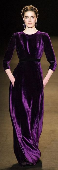Alberta Ferretti at Milan Fashion Week Fall 2013 - Purple Beauty And Fashion, Purple Fashion, Runway Fashion, Womens Fashion, Milan Fashion, Velvet Fashion, Indian Fashion, High Fashion, Beautiful Gowns