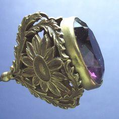 Victorian Hatpin Sunflowers & Purple Stone