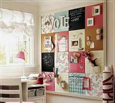 Multi wall boards from PBTeen--?do something similar with fabric-wrapped cork boards/etc