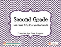 "2nd Grade LAFS Language Arts Florida Standards Checklist with Kid Friendly ""I Can"" Statements!"