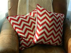 SALE: Pair of Handmade Red Chevron Pillows