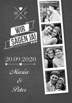 Einladungen mit einem tollen Design und 4 Fotos, die so aussehen, als ob sie aus einer Fotokabine stammen würden. #Hochzeitspapeterie #einladungskarten