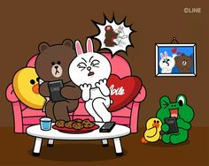 Love Cartoon Couple, Cute Couple Art, Cony Brown, Brown Bear, Line Cony, Bear Gif, Bunny And Bear, Cute Love Gif, Brown Line