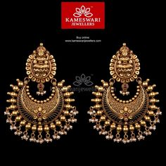 Jewelry Earrings Grand Yet Lite! Nakashi Chandbali - Earrings L: 3 inches ; W: 2 inch (bom screw) Gold Jhumka Earrings, Jewelry Design Earrings, Tourmaline Earrings, Gold Earrings Designs, Buy Earrings, Gold Jewellery Design, Jhumka Designs, Fancy Jewellery, Indian Earrings