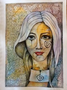 Deb weiers - girl with patterns mixed media faces, mixed media artwork, chalk drawings Kunstjournal Inspiration, Art Journal Inspiration, Mixed Media Faces, Mixed Media Art, Abstract Faces, Abstract Art, Art Journal Pages, Art Journals, Artist Journal