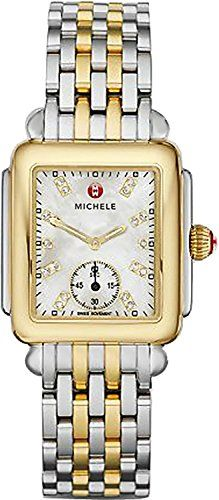 b67f6f750ac Michele Deco Two-Tone Diamond Marker Rectangular Bracelet Watch