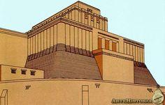 ERIDU - Reconstitution de la Ziggourat du Temple d'Enki - Commencée vers 5500 avant JC, le Temple a évolué au fil des siècles et a été achevé vers 3300 avant JC.